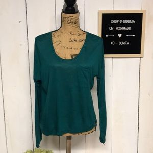 Madewell Green Long Sleeve Pocket Tee Woman's S